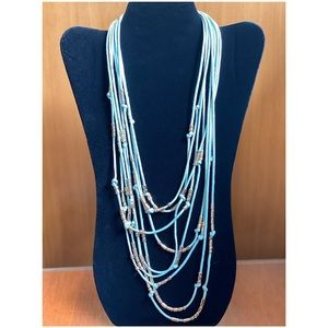 Multistrand Green Cord Necklace with Gold Accents